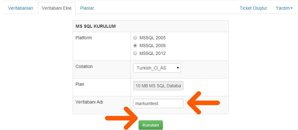 MS SQL veritabanı oluşturma